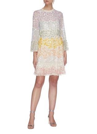 Figure View - Click To Enlarge - NEEDLE & THREAD - 'Chakra' rainbow sequin embellished long sleeve tulle mini dress