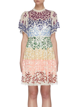 Main View - Click To Enlarge - NEEDLE & THREAD - 'Chakra' rainbow sequin embellished short sleeve tulle mini dress