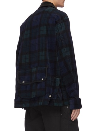 Back View - Click To Enlarge - SACAI - Detachable bag zip up flannel shirt jacket