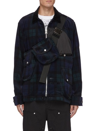 Main View - Click To Enlarge - SACAI - Detachable bag zip up flannel shirt jacket