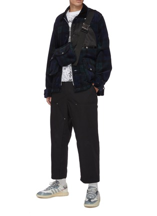 Figure View - Click To Enlarge - SACAI - Detachable bag zip up flannel shirt jacket