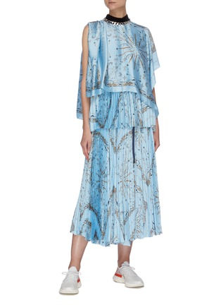 Figure View - Click To Enlarge - SACAI - x Dr Woo bandana print pleat skirt