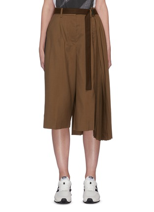 Main View - Click To Enlarge - SACAI - Pleated side tailored belted culotte pants