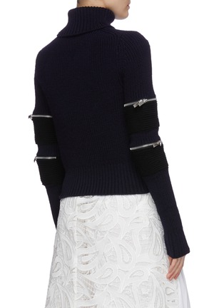 Back View - Click To Enlarge - SACAI - Zip sleeve turtleneck rib knit top