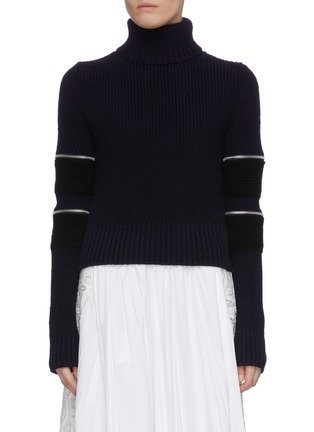 Main View - Click To Enlarge - SACAI - Zip sleeve turtleneck rib knit top