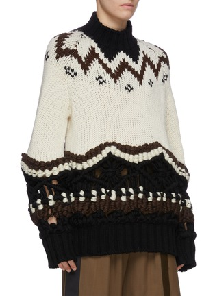 Detail View - Click To Enlarge - SACAI - Tribal turtleneck crochet knit sweater