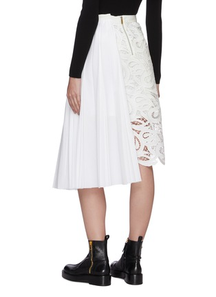 Back View - Click To Enlarge - SACAI - Paisley lace panel pleated midi skirt