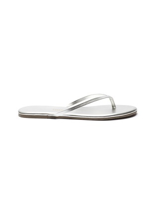 Main View - Click To Enlarge - TKEES - Metallics leather flip flops