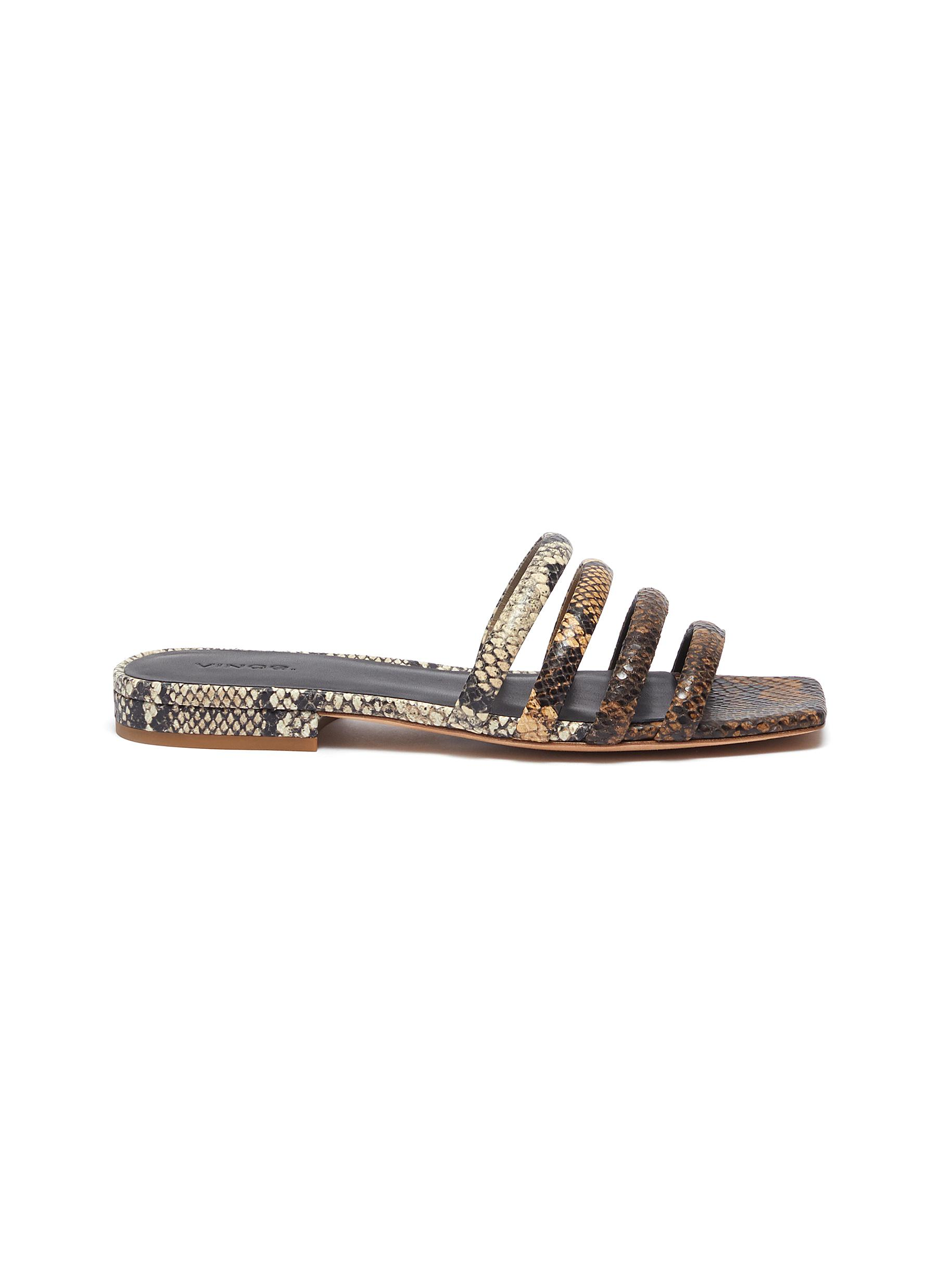 Vince ZAHARA' 4-BAND SNAKE EMBOSSED SQUARE TOELEATHER SANDALS
