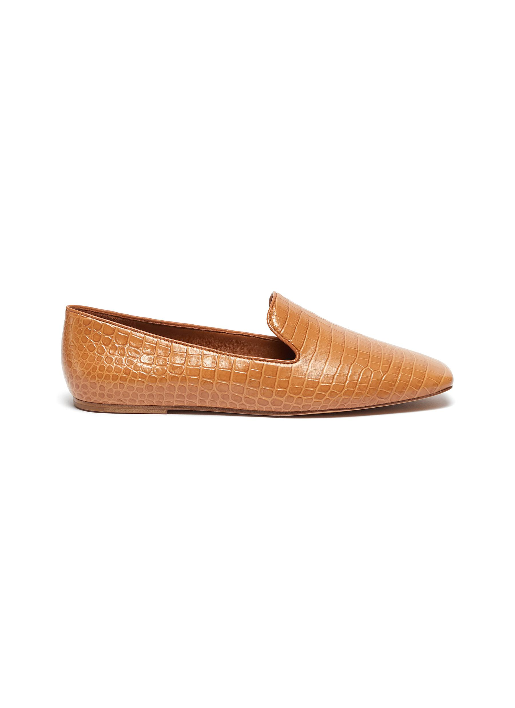 Vince CLARK' CROC EMBOSSEDLEATHER SQUARE TOE LOAFERS