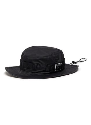 Main View - Click To Enlarge - ACNE STUDIOS - Face plaque wide brim drawstring nylon bucket hat