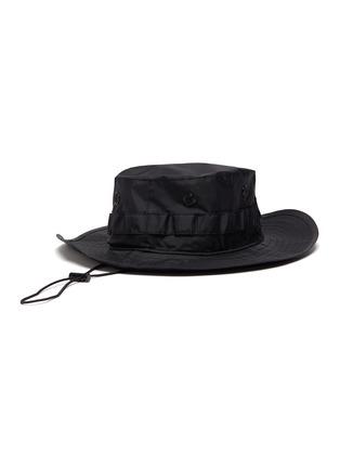 Figure View - Click To Enlarge - ACNE STUDIOS - Face plaque wide brim drawstring nylon bucket hat