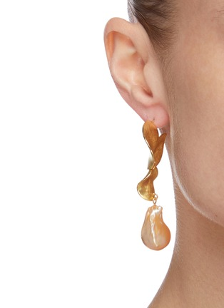 Figure View - Click To Enlarge - OLIVIA YAO - Freshwater pearl gold plated scallop drop earrings
