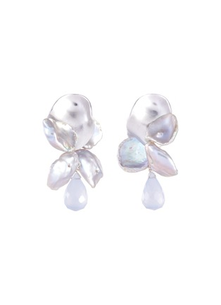 Main View - Click To Enlarge - OLIVIA YAO - Keshi pearl chalcedony sterling silver reef earrings