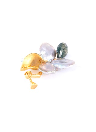 Detail View - Click To Enlarge - OLIVIA YAO - Keshi pearl phantom crystal gold plated reef clip earrings