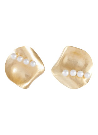 Main View - Click To Enlarge - OLIVIA YAO - Freshwater pearl gold plated scallop stud clip earrings