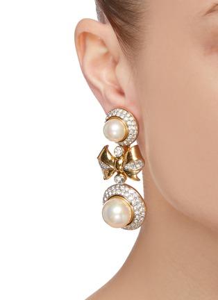 Figure View - Click To Enlarge - LANE CRAWFORD VINTAGE ACCESSORIES - 'Nina Ricci' diamanté large pearl drop earrings