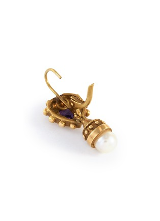 Detail View - Click To Enlarge - STAZIA LOREN - Pearl purple stone 14k gold drop earrings
