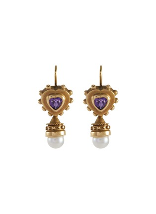 Main View - Click To Enlarge - STAZIA LOREN - Pearl purple stone 14k gold drop earrings