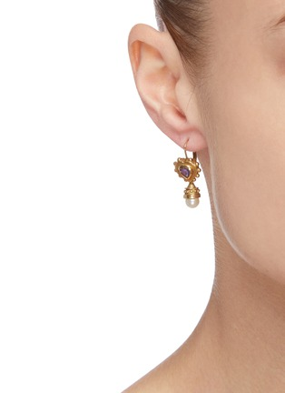 Figure View - Click To Enlarge - STAZIA LOREN - Pearl purple stone 14k gold drop earrings
