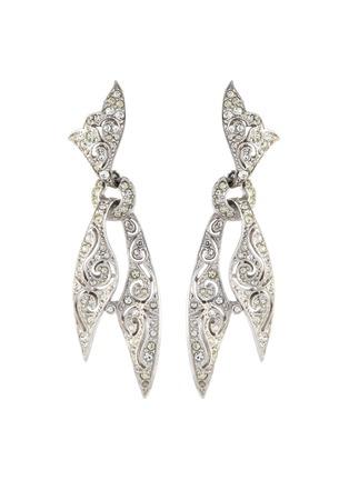 Main View - Click To Enlarge - STAZIA LOREN - Diamanté knotted scarf drop earrings
