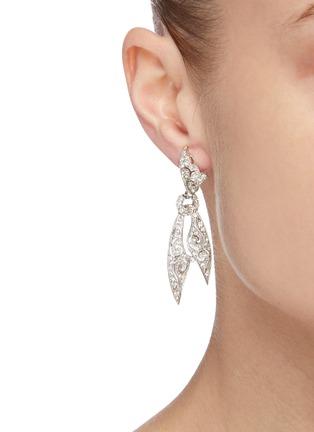 Figure View - Click To Enlarge - STAZIA LOREN - Diamanté knotted scarf drop earrings