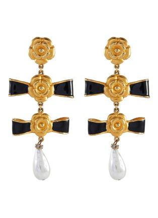 Main View - Click To Enlarge - STAZIA LOREN - Bows pearl drop earrings