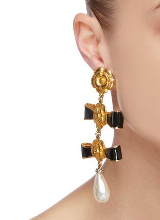 Figure View - Click To Enlarge - STAZIA LOREN - Bows pearl drop earrings