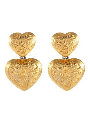 Main View - Click To Enlarge - STAZIA LOREN - Heart drop 14k gold earrings