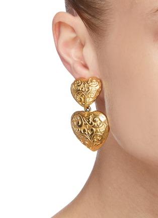 Figure View - Click To Enlarge - STAZIA LOREN - Heart drop 14k gold earrings