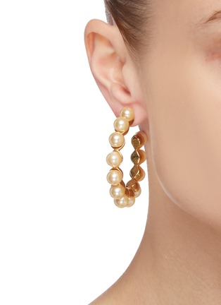 Figure View - Click To Enlarge - STAZIA LOREN - Pearl hoop earrings