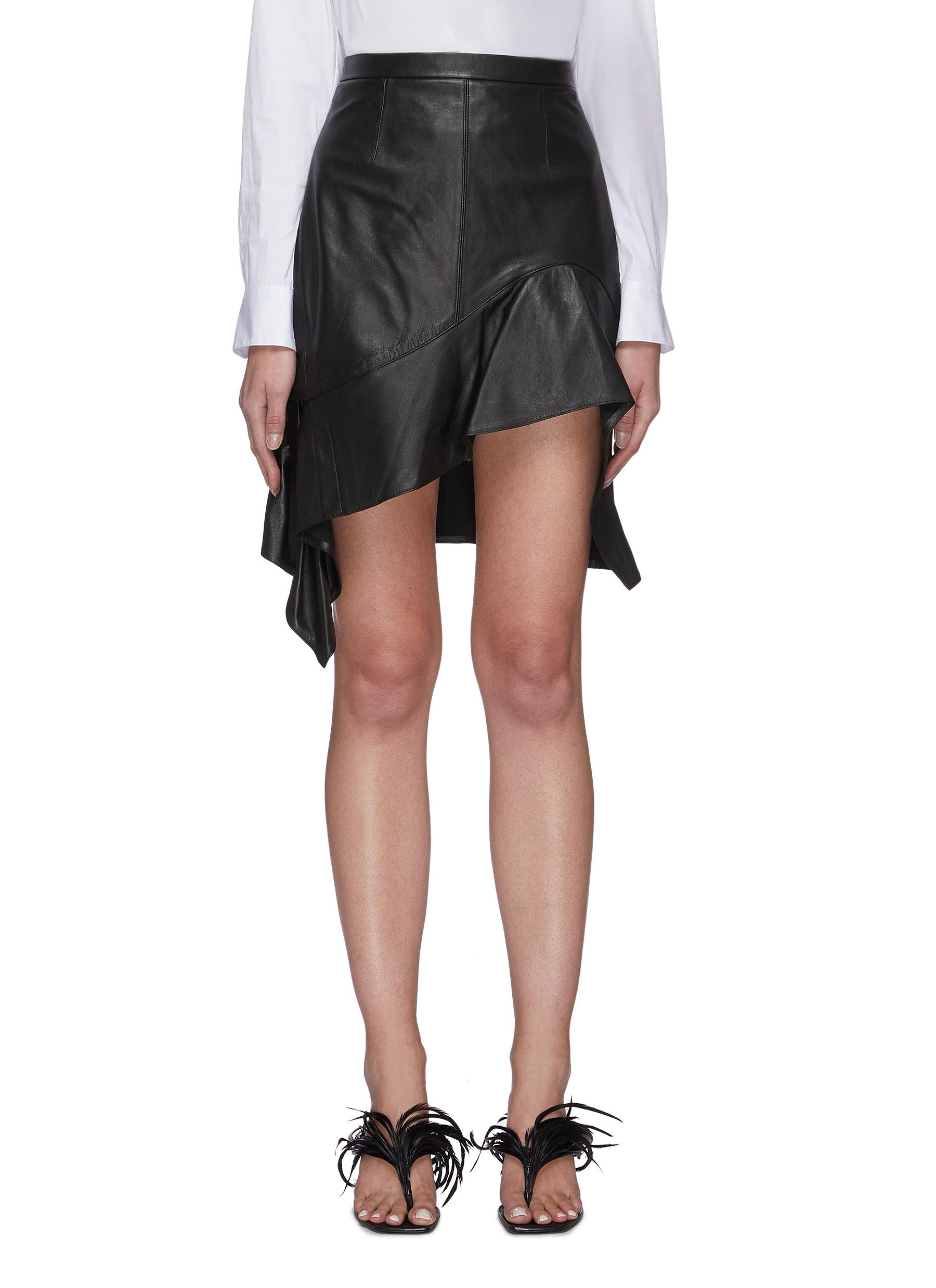 Alexander Wang DECONSTRUCTED RUFFLE HEM LEATHER MINI SKIRT