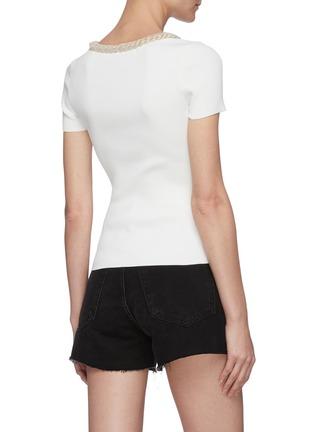 Back View - Click To Enlarge - ALEXANDER WANG - Chain collar rib knit T-shirt