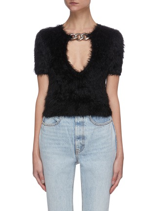 Main View - Click To Enlarge - ALEXANDER WANG - Chain embellished V-neck short sleeve sweater