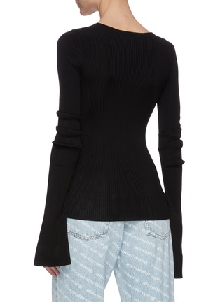 Back View - Click To Enlarge - ALEXANDER WANG - Split cuff chain embellished rib knit top