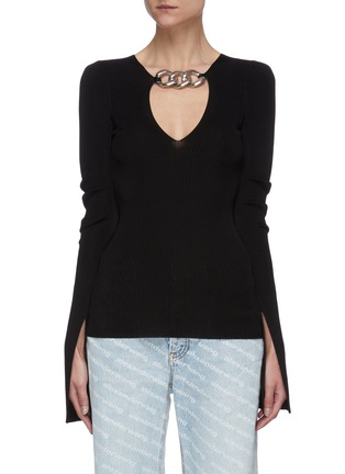 Main View - Click To Enlarge - ALEXANDER WANG - Split cuff chain embellished rib knit top