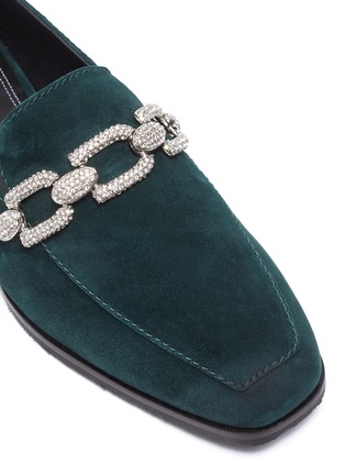 Detail View - Click To Enlarge - STELLA LUNA - Crystal chain detail suede loafers