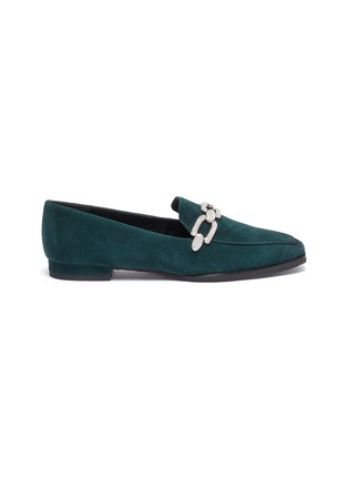 Main View - Click To Enlarge - STELLA LUNA - Crystal chain detail suede loafers