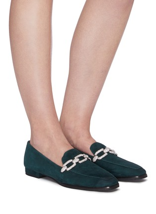 Figure View - Click To Enlarge - STELLA LUNA - Crystal chain detail suede loafers