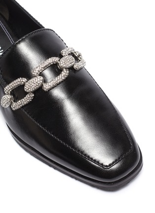 Detail View - Click To Enlarge - STELLA LUNA - Crystal chain detail leather loafers