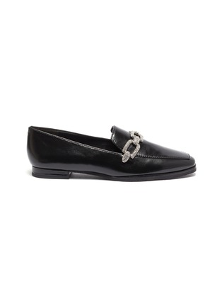 Main View - Click To Enlarge - STELLA LUNA - Crystal chain detail leather loafers