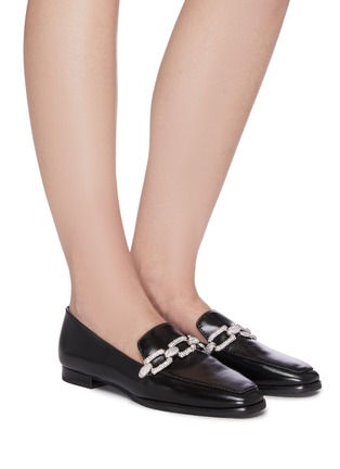 Figure View - Click To Enlarge - STELLA LUNA - Crystal chain detail leather loafers