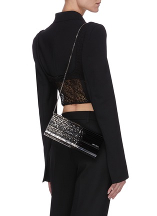 Front View - Click To Enlarge - JIMMY CHOO - Sweetie' degrade glitter acrylic clutch