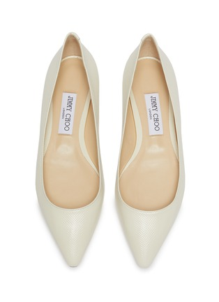 Detail View - Click To Enlarge - JIMMY CHOO - 'Romy' point toe chevron embossed patent leather skimmer flats