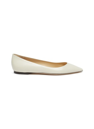 Main View - Click To Enlarge - JIMMY CHOO - 'Romy' point toe chevron embossed patent leather skimmer flats