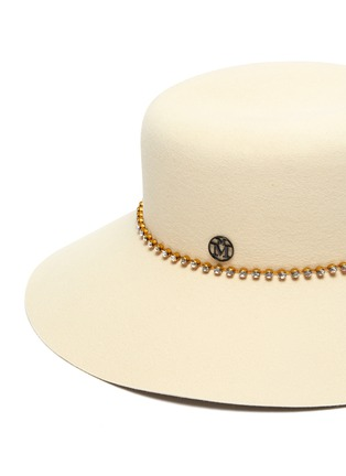 Detail View - Click To Enlarge - MAISON MICHEL - Kendall strass chain felt bucket hat