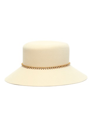Figure View - Click To Enlarge - MAISON MICHEL - Kendall strass chain felt bucket hat