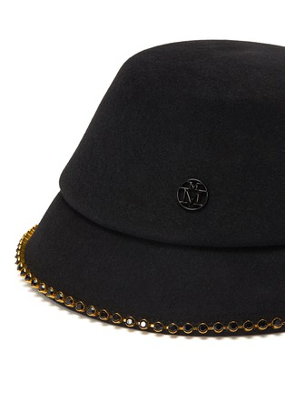 Detail View - Click To Enlarge - MAISON MICHEL - 'Souna' strass embellished chain felt bucket hat