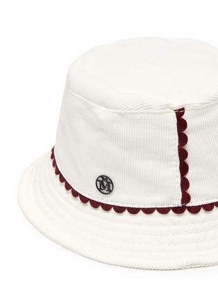 Detail View - Click To Enlarge - MAISON MICHEL - 'Jason' scallop trim corduroy bucket hat