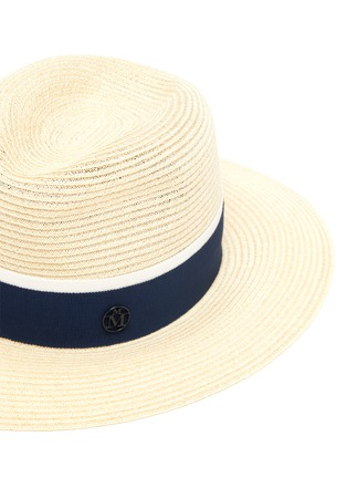 Detail View - Click To Enlarge - MAISON MICHEL - Henrietta contrast ribbon straw fedora hat